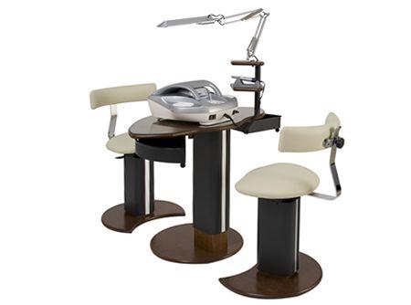 Eshop: t6 fixcom tavolo manicure in legno altezza fissa 2 sgabelli